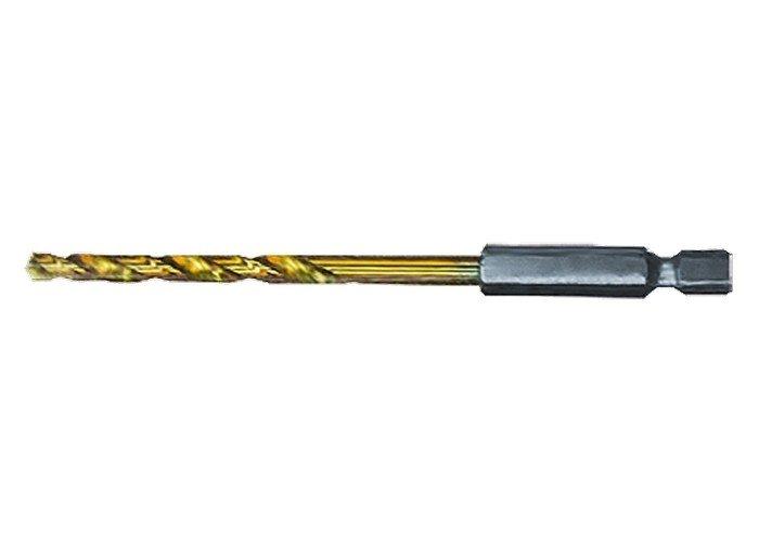 Сверло по металлу, 3 мм, HSS, нитридтитановое покрытие, шестигранный хвостовик