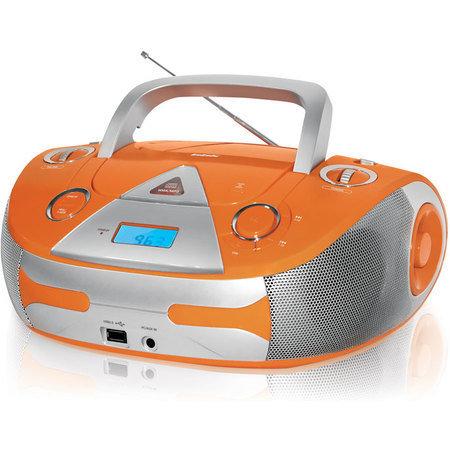 Магнитола BBK BX325U, оранжевый/серебристый