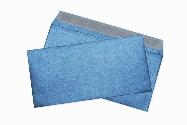 Конверт Е65 (26*13см) цвет Синий металлик, бумага 120гр/м2