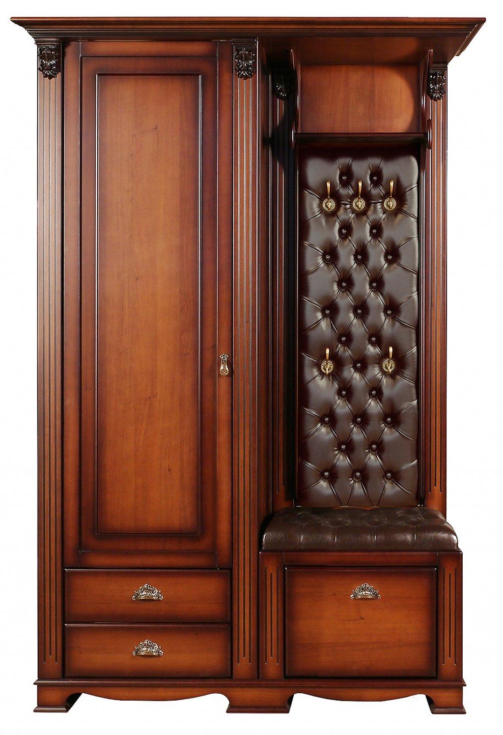 Прихожая Лувр с одностворчатым шкафом, вешалкой и банкеткой-обувницей EL7527L Or Brown