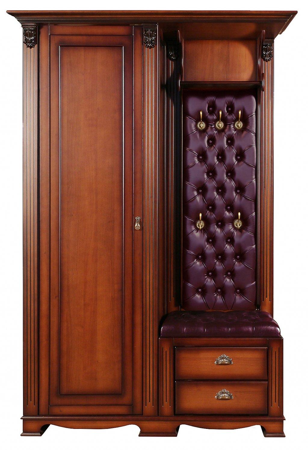 Прихожая Лувр с одностворчатым шкафом, вешалкой и банкеткой с двумя выдвижными ящиками EL7525L Or Bordo