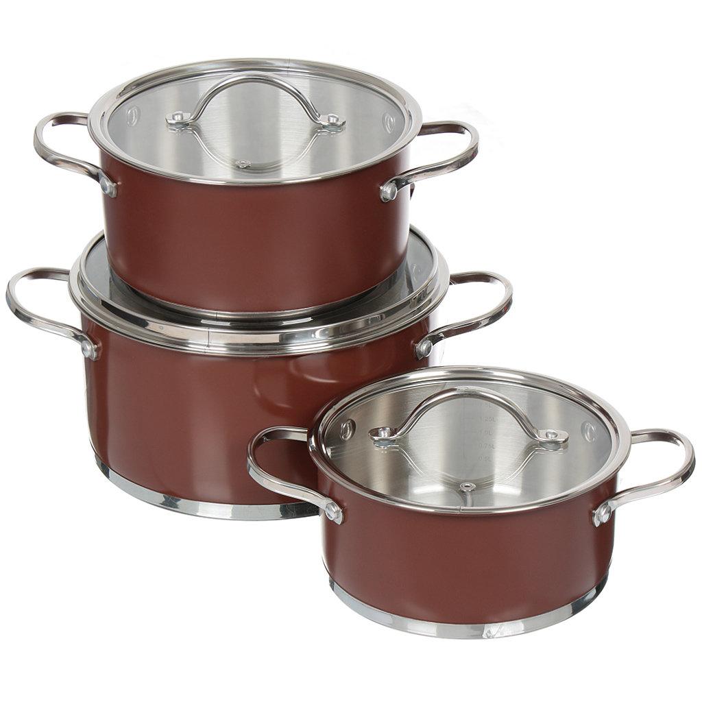 Набор посуды из нержавеющей стали Bohmann 0614BH (кастрюля 2.1+3+5.2 л), 6 предметов
