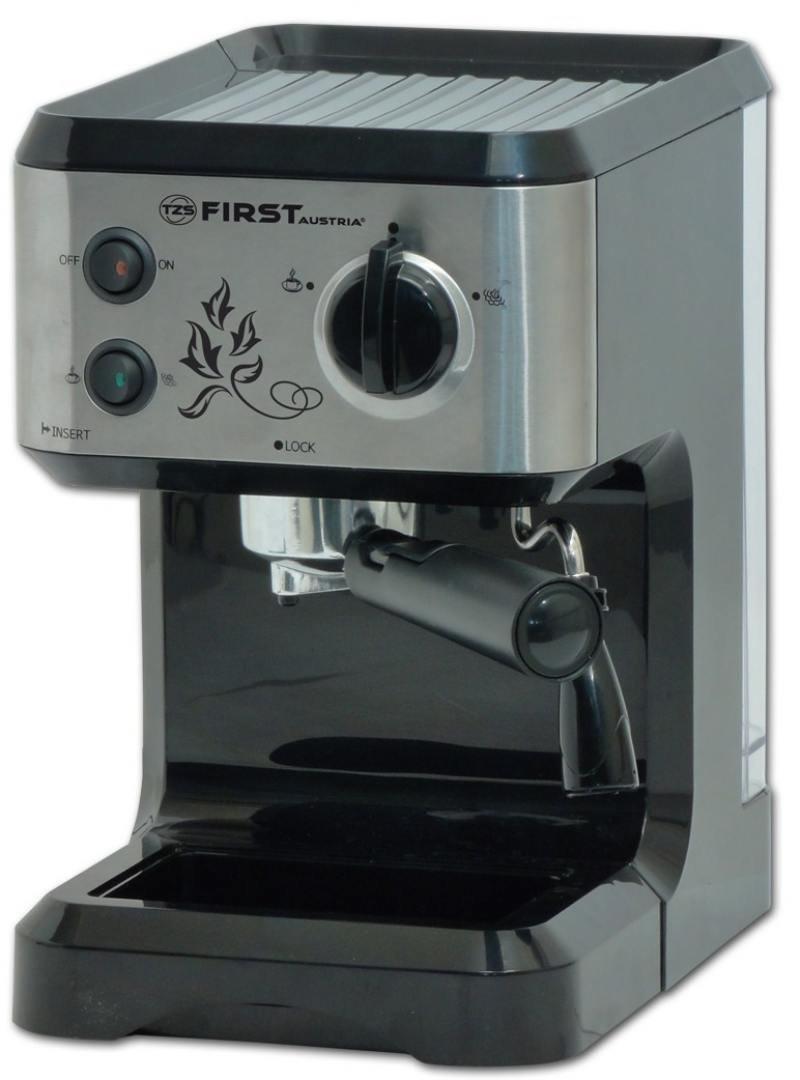 Кофеварка First FA-5476-1, 1050Вт, эспрессо, полуавтомат, капучино, д/молотого, черный