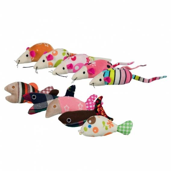 "Игрушки для кошек Trixie ""Мышки и рыбки"", 42 штуки, 9-12 см"