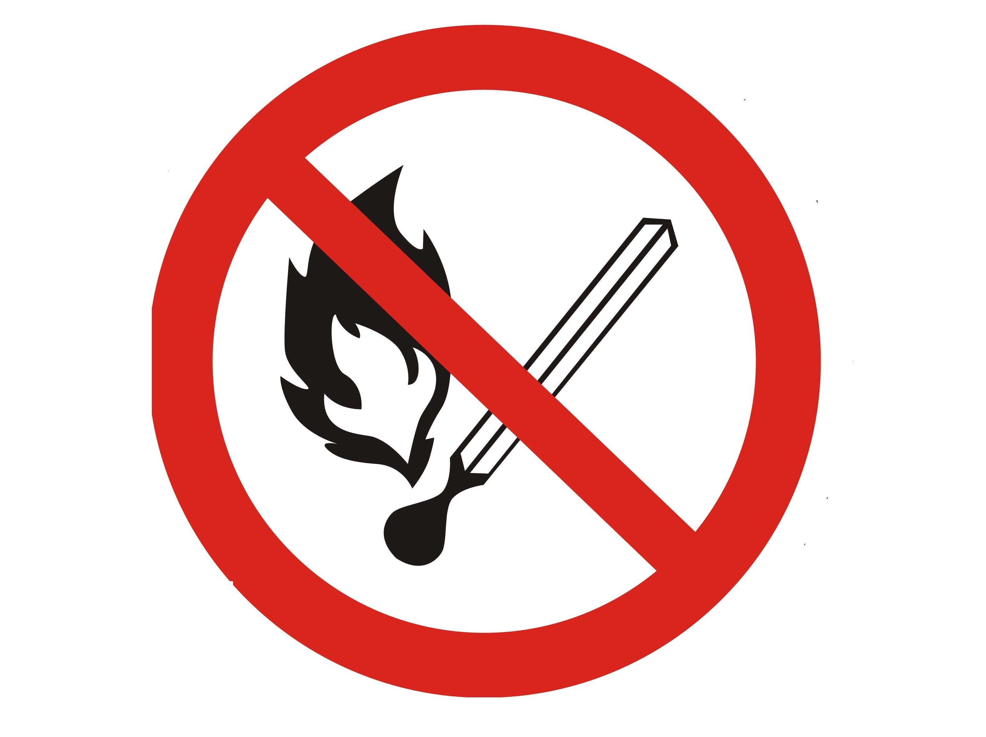 Наклейка знак Запрещается пользоваться открытым огнем 20см