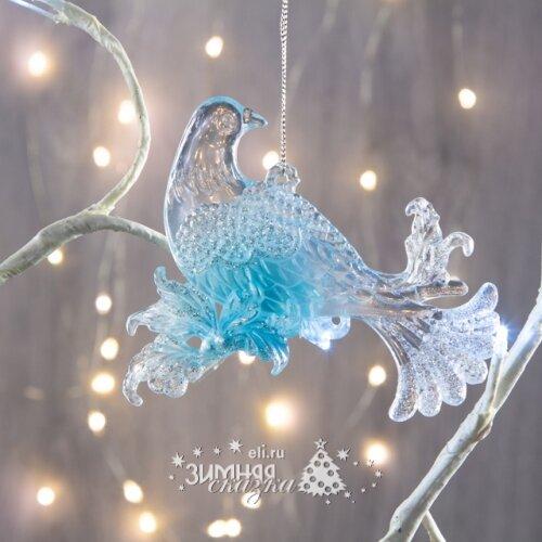 Crystal Deco Елочное украшение Голубь 11 см серебро с бирюзой, подвеска 150197