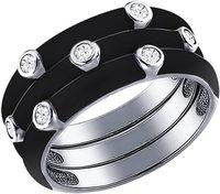 Серебряное наборное кольцо SOKOLOV 94011146_s с эмалью с фианитами, размер 17 мм