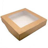 Коробка с окном белая / крафт 20 х 20 х 4 см, внутри ламинация