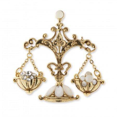 1928 Jewelry Брошь Золотые весы, кристаллы