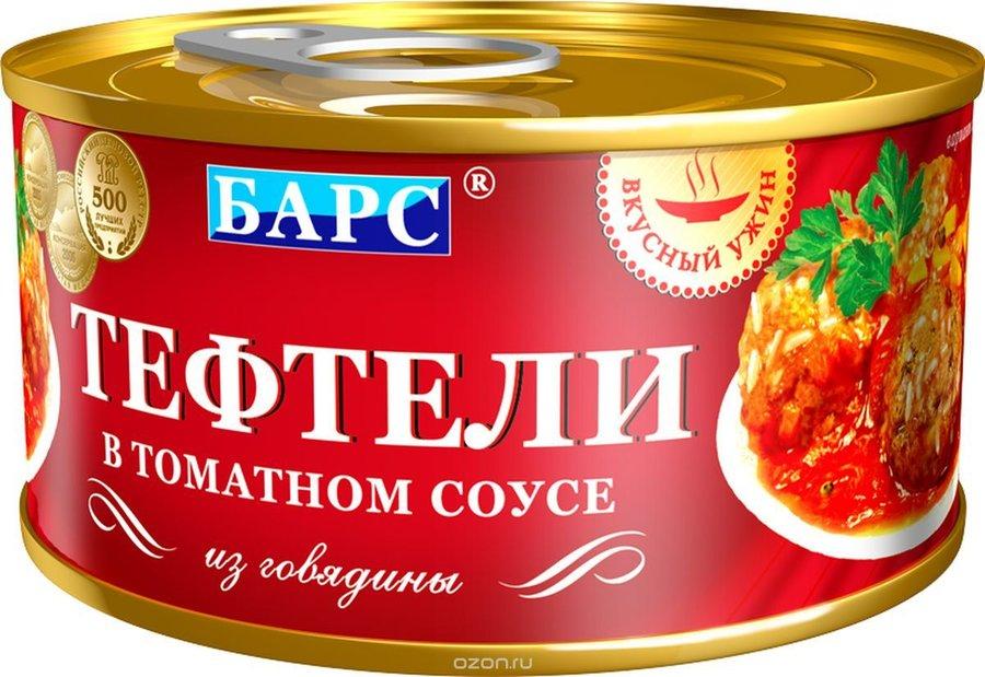 Вкусный ужин Барс тефтели мясные в томатном соусе, 325 г