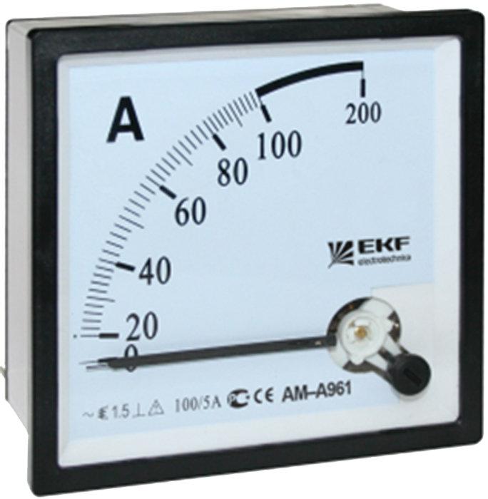 Амперметр AM-A961 аналоговый на панель (96х96) квадратный вырез 50А прямое подкл. EKF PROxima