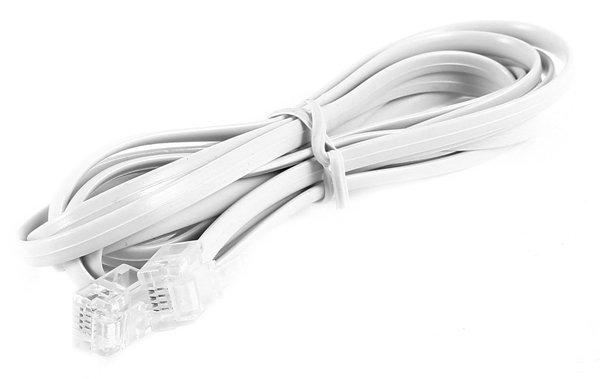 Телефонный кабель REXANT 6P4C 15 м белый
