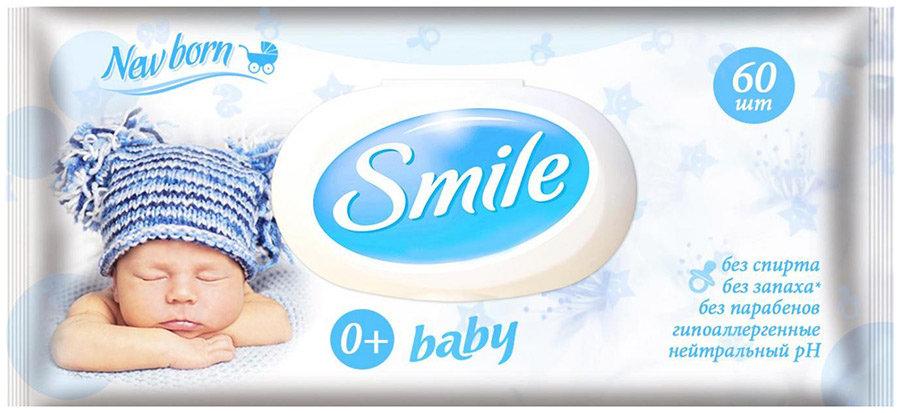 Влажные салфетки Smile New Born с пластиковым клапаном 60шт