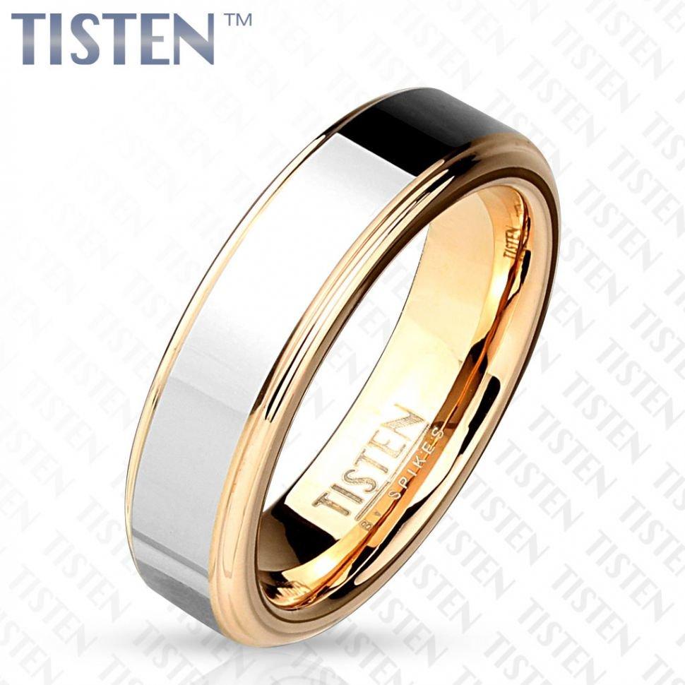 Кольцо из титан-вольфрама (тистена) Spikes R-TS-007 обручальное с покрытием розовым золотом (Размер 10 (наш 19,8))