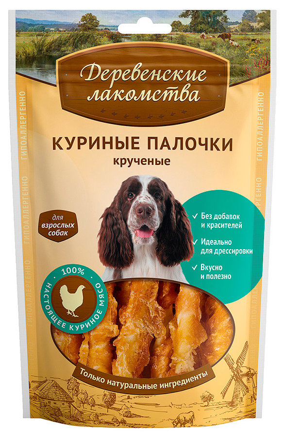 Лакомство для собак Деревенские лакомства куриные палочки крученые 90г