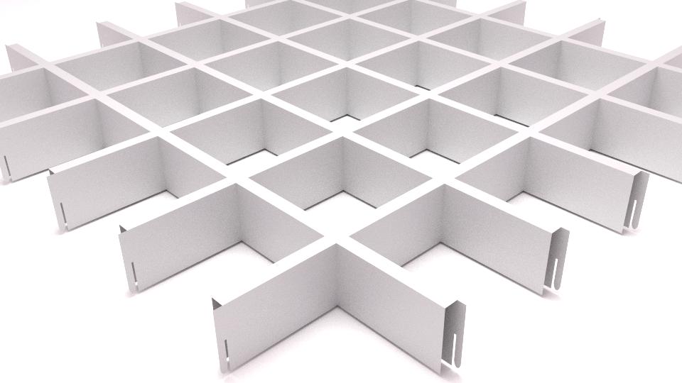 Подвесной потолок Грильято 100*100*40 - белый алюминеевый
