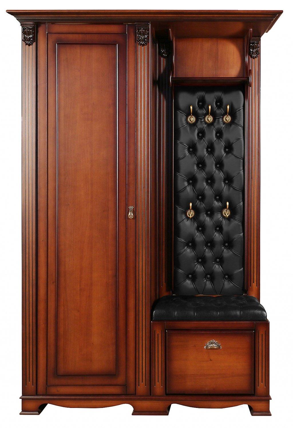 Прихожая Лувр с одностворчатым шкафом, вешалкой и банкеткой-обувницей EL7526L Or Black