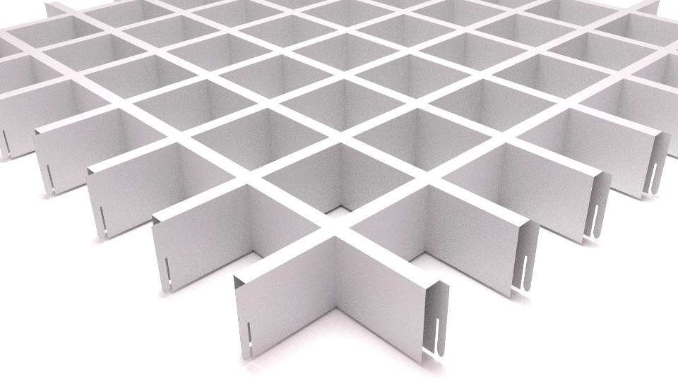 Подвесной потолок Грильято 75*75*40 - белый алюминеевый