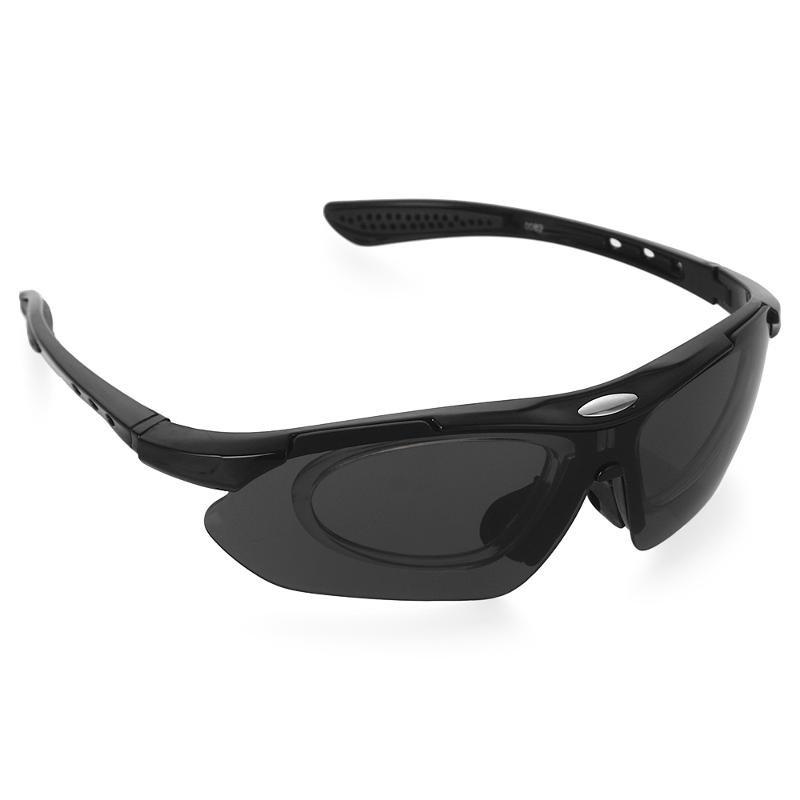 Очки спортивные солнцезащитные Bradex с 5 сменными линзами в чехле, черные, SF 0156