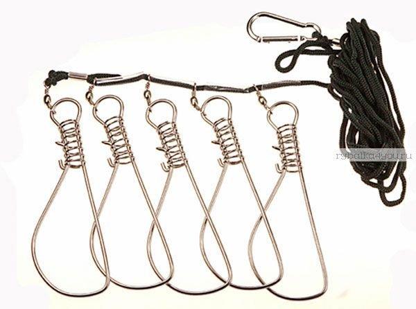 Кукан 5 карабинов на веревке