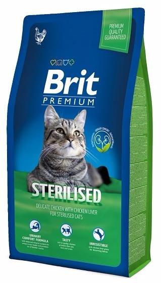 Brit Premium Cat Sterilised корм для стерилизованных кошек, нежная курица с куриной печенью, 8 кг