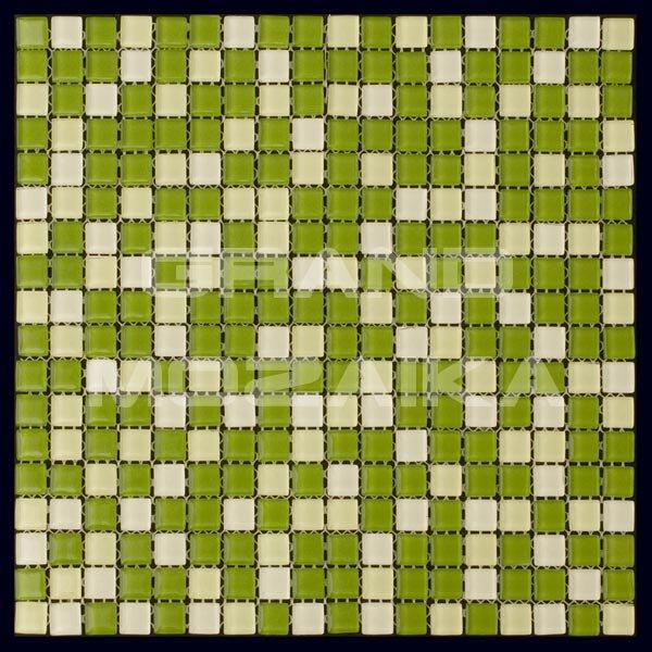Стеклянная мозаика серия Mix 11059. Цвет - зеленый, материал - Стекло, размер чипа: 15x15, размер листа: 298x298, цена за лист