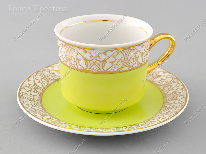 Чайное шапо Чайная пара Леандер (Leander) Чайная чашка высокая с блюдцем фарфоровая (Шапо чайное или пара) 200 мл. 234H. Сабина