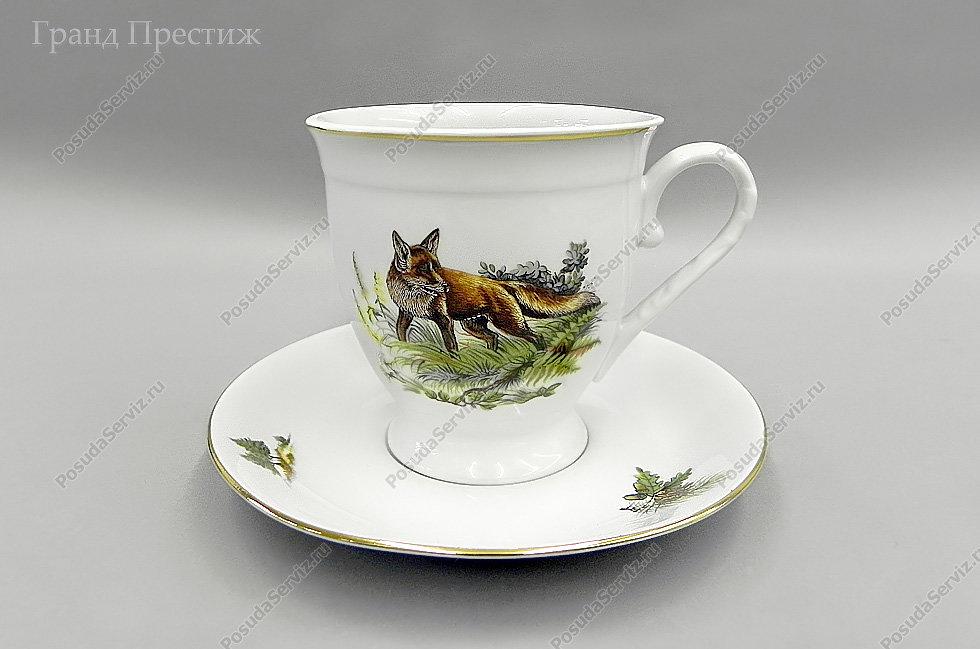 Чайное шапо Чайная пара Леандер (Leander) Чайная чашка с блюдцем фарфоровая (Шапо чайное или пара) 300 мл высокая. Охотничьи сюжеты. Мэри-Энн