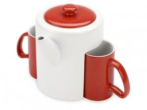 Oasis Чайный набор: чайник, 2 чашки красный,белый