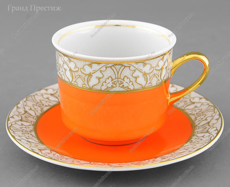 Чайное шапо Чайная пара Леандер (Leander) Чайная чашка высокая с блюдцем фарфоровая (Шапо чайное или пара) 200 мл. 234J. Сабина