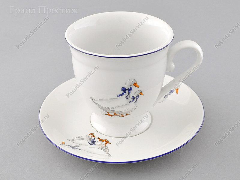 Чайное шапо Чайная пара Леандер (Leander) Чайная чашка высокая с блюдцем фарфоровая (Шапо чайное или пара) 300 мл. Гуси. Мэри-Энн
