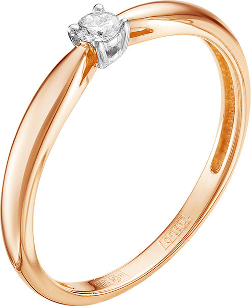 Золотое помолвочное кольцо Vesna jewelry 1038-151-00-00 с бриллиантом, размер 17 мм