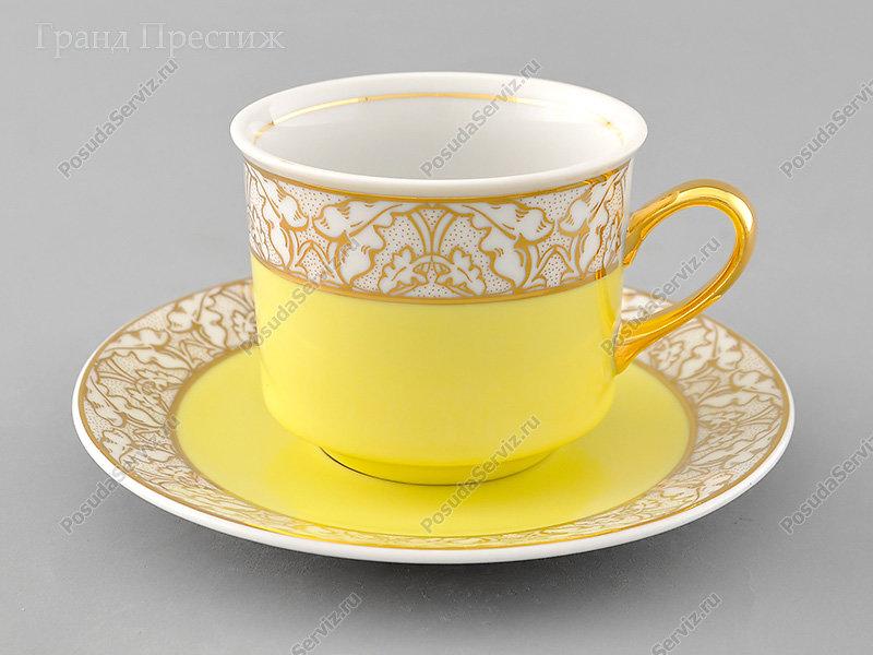 Чайное шапо Чайная пара Леандер (Leander) Чайная чашка высокая с блюдцем фарфоровая (Шапо чайное или пара) 200 мл. 234L. Сабина