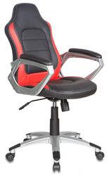 Кресло руководителя БЮРОКРАТ CH-825S, на колесиках, искусственная кожа, черный [ch-825s/black+rd]