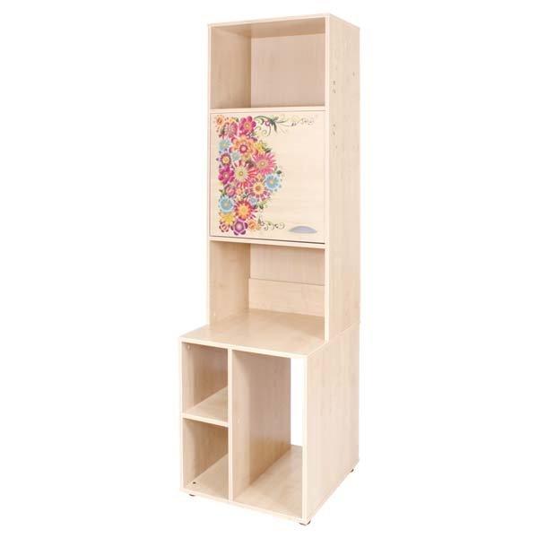 Стеллаж ДЭМИ под системный блок с дверкой клен с рисунком цветы