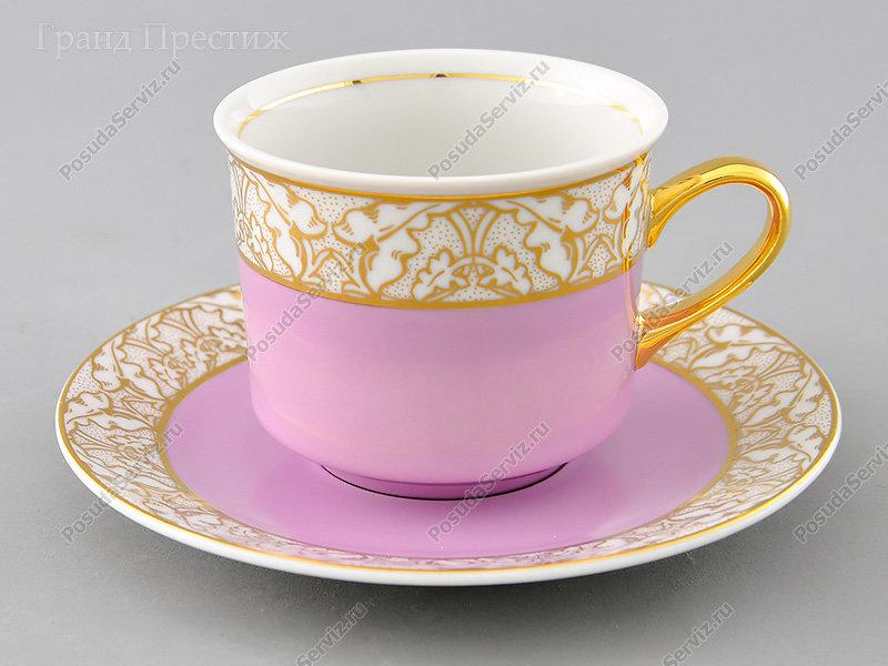 Чайное шапо Чайная пара Леандер (Leander) Чайная чашка высокая с блюдцем фарфоровая (Шапо чайное или пара) 200 мл. 234G. Сабина