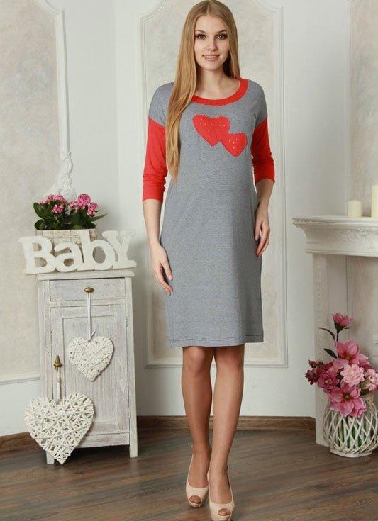 Для беременных Lucky Mum 1102 серый с красным