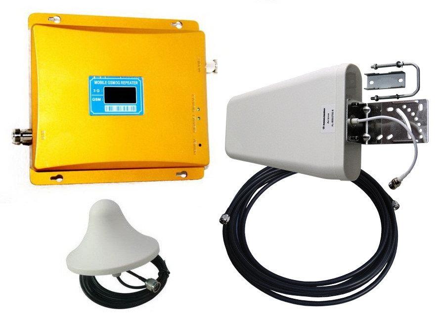 Усилитель репитер GSM 900 3G 2100 МГц до 300м² с экраном (комплект)