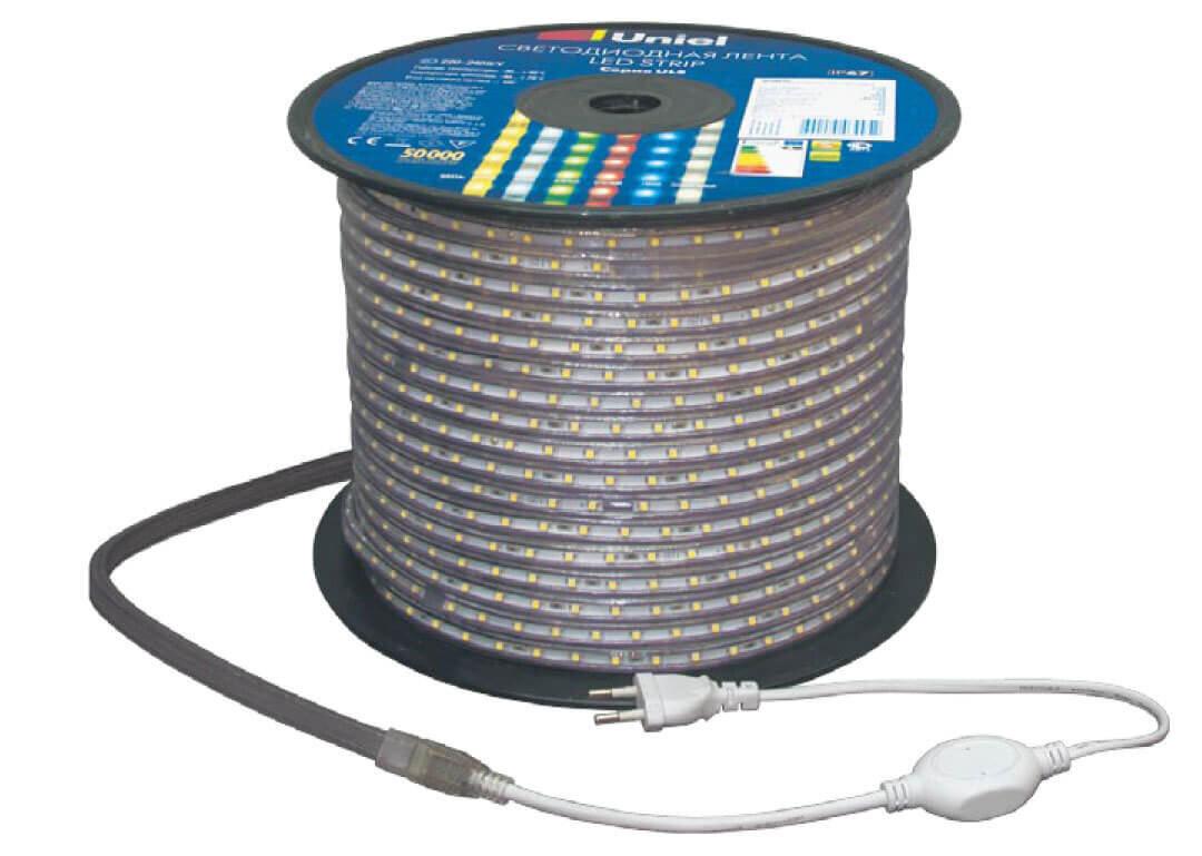 Светодиодная лента Uniel ULS-5050-60LED/m-16mm-IP67-220V-14,4W/m-50M-RGB 220 V герматичные