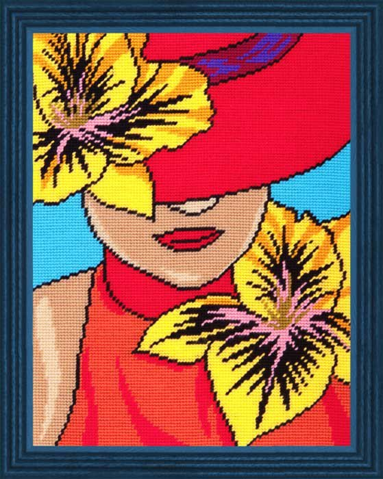 "Набор для вышивания пряжей QUICK TAPESTRY арт. TL31 ""Дама в шляпе"" 36х47 см"