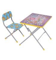Комплект детской мебели Фея Досуг № 201 Алфавит, цвет: серый/сиреневый