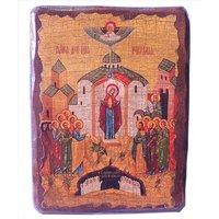 Икона Божией Матери Непроходимая Дверь под старину (13 х 17,5 см), арт IDR-728