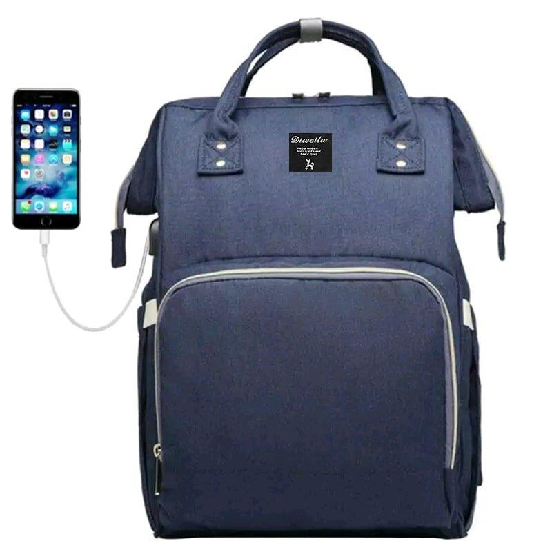 Рюкзак для мамы Diweilu с USB синий