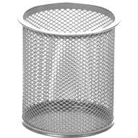 Подставка для канцелярии цилиндр, высота 98мм, металл, сетка (серебро)