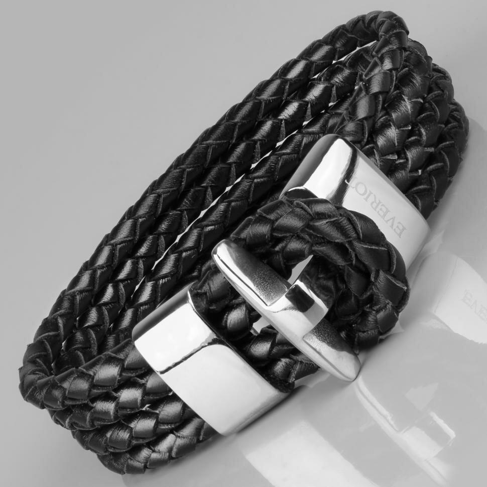 Черный мужской браслет из кожи Everiot LNS-5015 (Размер: 20)