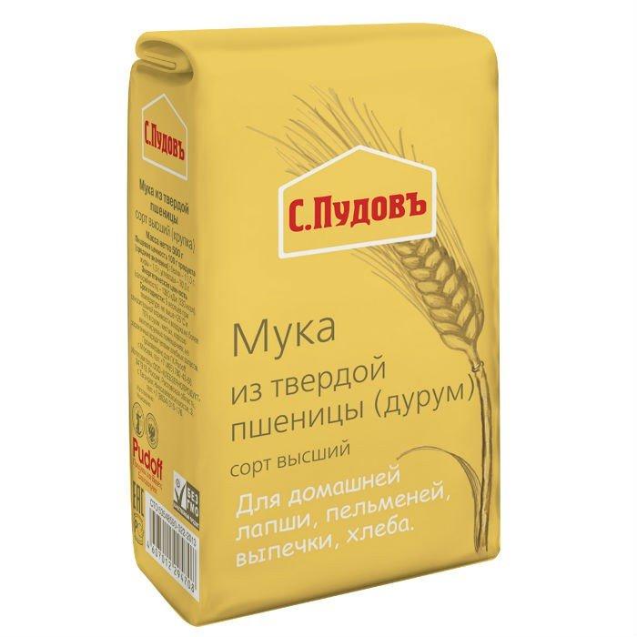 Мука из твердой пшеницы, сорт высший (крупка) «С. Пудовъ», 500 г