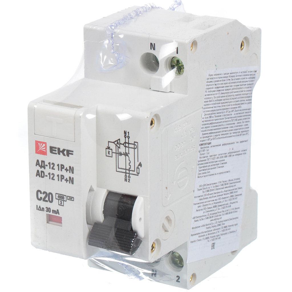 Автоматический выключатель дифференциального тока EKF DA12-20-30-bas АД12 1Р+N, 20 А, 30 мА