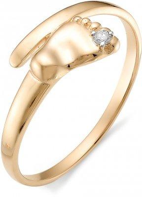 Кольцо Пяточка ребенка с бриллиантом из красного золота