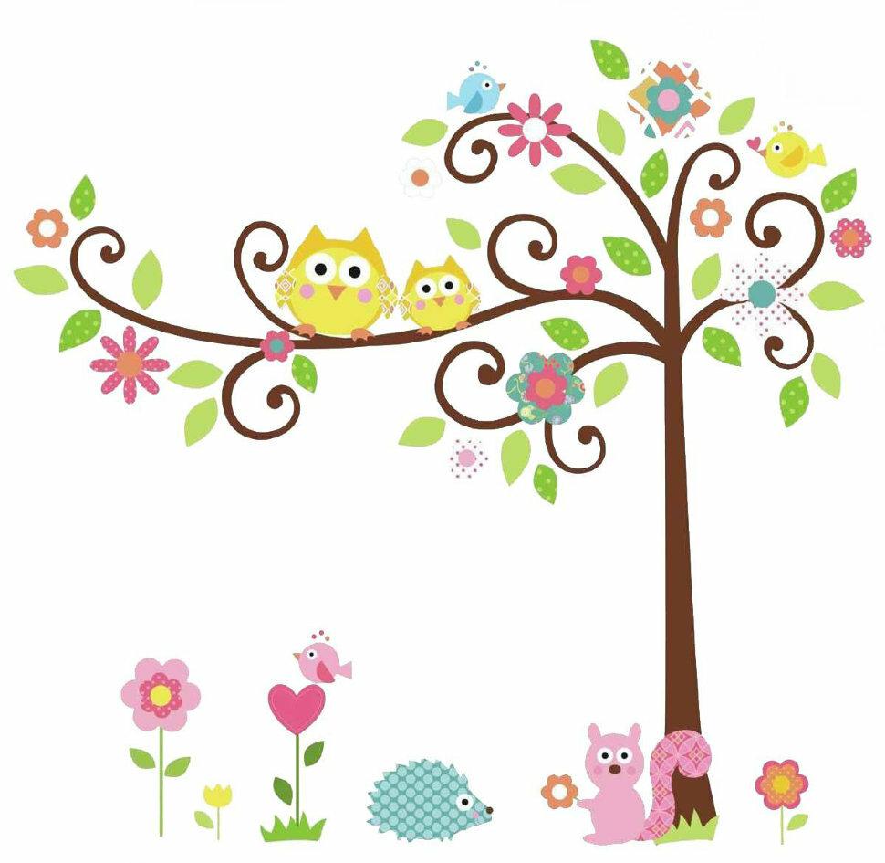 Цветущее дерево набор наклеек на стену для декора комнаты ROOMMATES RMK1439SLM