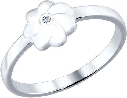 Серебряное кольцо SOKOLOV 87010008_s с бриллиантом, размер 18 мм